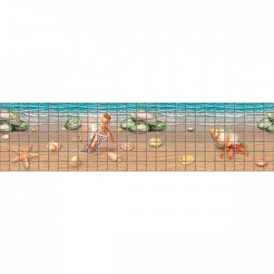 Digital printing image Beach Border in Mosaic Tile - Ezarri