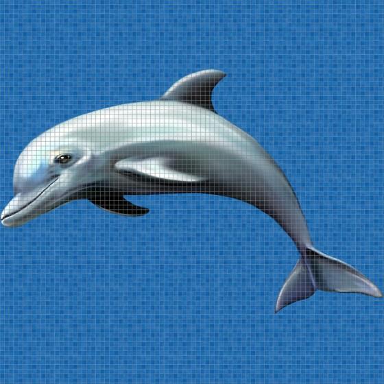 Dibujo en impresión digital Dolphin en Mosaico - Ezarri