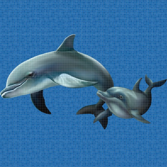 Digital printing image Dolphin Family in Mosaic Tile - Ezarri