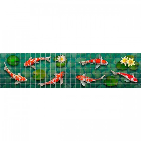 Digital printing image Koi Fish Border in Mosaic Tile - Ezarri