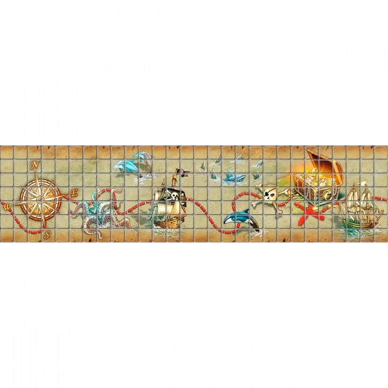 Digital printing image Pirates Border in Mosaic Tile - Ezarri