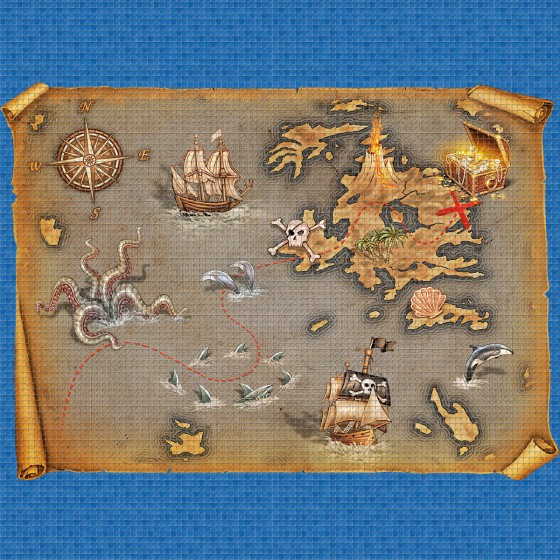 Digital printing image Pirates Map in Mosaic Tile - Ezarri