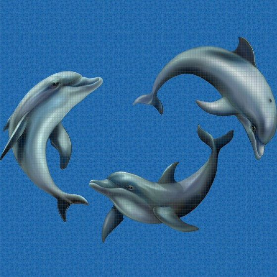 Digital printing image Playing Dolphins in Mosaic Tile - Ezarri