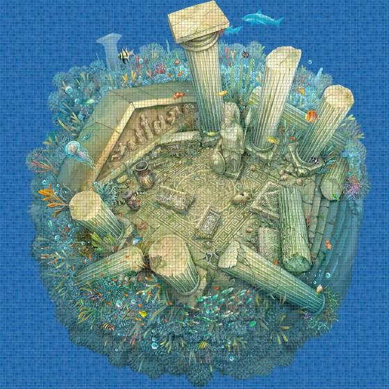 Digital printing image Roman Ruins in Mosaic Tile - Ezarri
