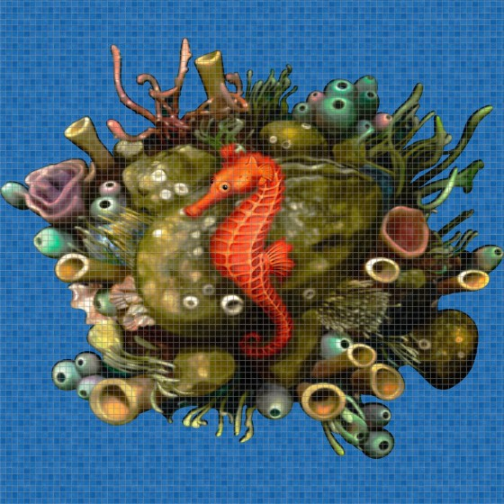 Digital printing image Sea Horse in Mosaic Tile - Ezarri