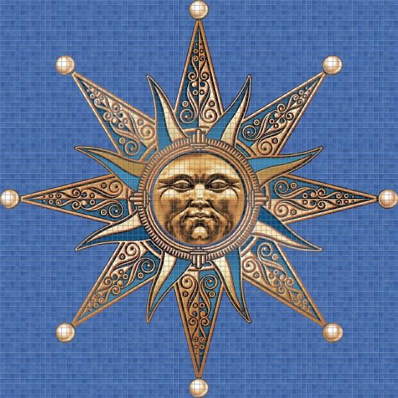 Dibujo en impresión digital Sun en Mosaico - Ezarri