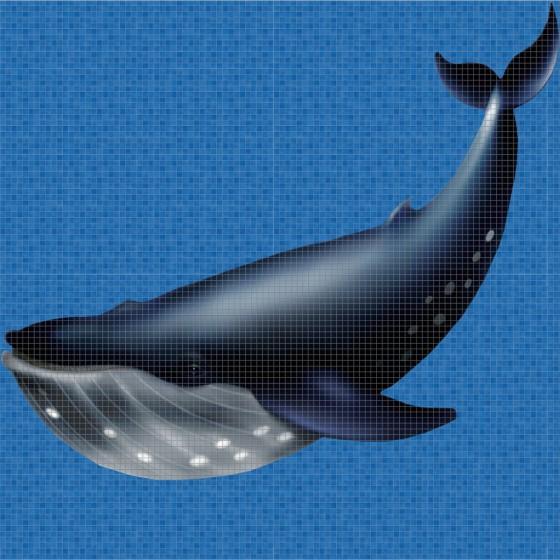 Dibujo en impresión digital Whale en Mosaico - Ezarri