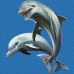 Digital printing image Happy Dolphins in mosaic tiles - Ezarri