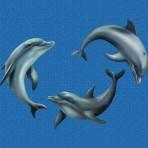 Dibujo en impresión digital Playing Dolphins en Mosaico - Ezarri