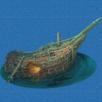 Digital printing image Treasure Ship in Mosaic Tile - Ezarri