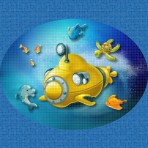 Dibujo en impresión digital Yellow Submarine en Mosaico - Ezarri
