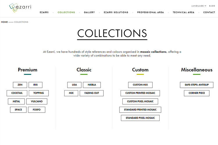 Are you familiar with the new organisational scheme of Ezarri´s collections?