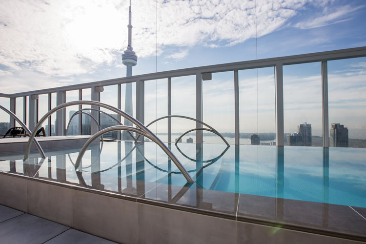 An Ezarri Spanish mosaic pool in the Toronto sky